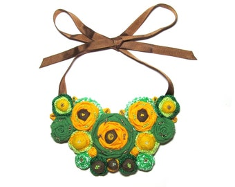 Green Yellow Brown Necklace, Fabric Necklace, Wool Necklace, Linen Necklace, Bib necklace, Gift for her, For women, For girls