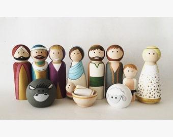 Full Nativity of Peg Dolls -- Wooden Nativity