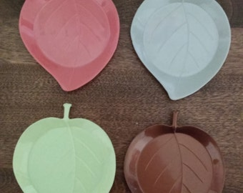 4 Gothamware Leaf Shaped Coasters