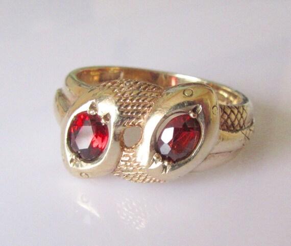 large 9ct gold garnet snake ring