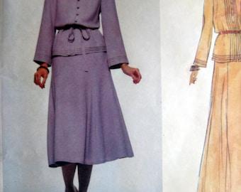 Vintage Pattern 1983 Vogue American Designer Albert Nippon Fancy Pintuck Top 6 Gored Skirt sz 12 uncut