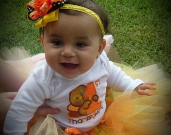 Baby's First Thanksgiving outfit,Girl 1st Thanksgiving outfit,Thanksgiving bodysuit,Fall tutu,Turkey bodysuit,Thanksgiving headband,Orange