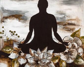 Meditating peaceful card mixed media