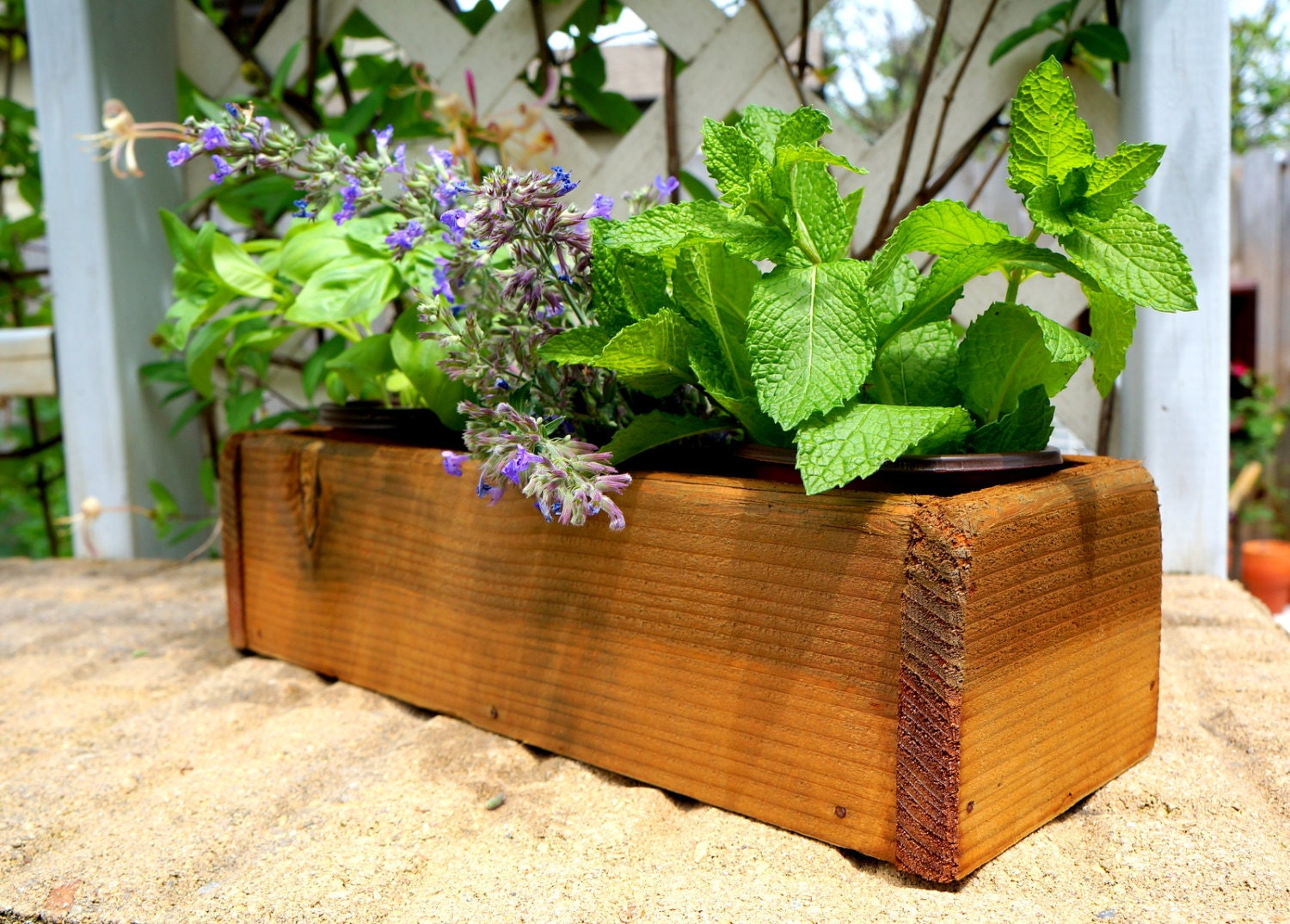 cedar herb planter box indoor planter window by