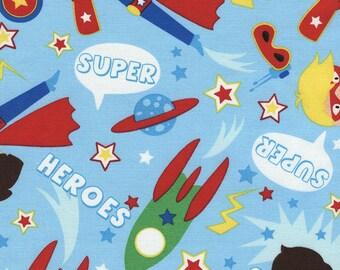 Sale 8.99 Yard - Reg 9.95 yard - Timeless Treasures Superhero Boys -  Kidz-C3875  Sky  - FBTY - Juvenile - Super Hero Fabric