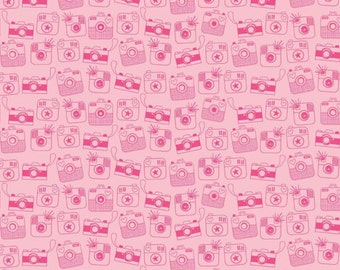 Cameras - Riley Blake Designs Snapshots by Bella Blvd.  Pink Cameras - 100% Cotton Fabric