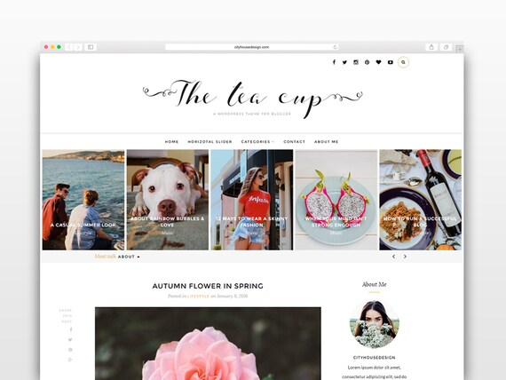 The Tea Cup - Wordpress theme-Wordpress template- Photography template - Responsive WordPress Theme - wordpress blog theme - Fashion blog