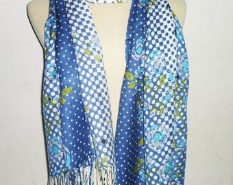Polka dot scarf white blue spotted 68 x 27 inch flower **soft shawl**long scarf **men women scarf **gift ideas accessories