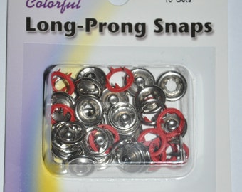 Package of Snap Source Long Prong Snaps Color - Red - Size 16 Open Prong Ring - 10 Sets