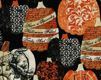 New  1/2 Yard of 100% Cotton Black Decorative Halloween Harvest Fall Pumpkins by Timeless Treasures