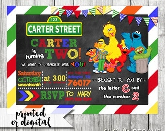 Sesame Street Invitation, Sesame Street Birthday Invitation, Sesame Street Party, Sesame Street Invite, Sesame Street 2nd Birthday