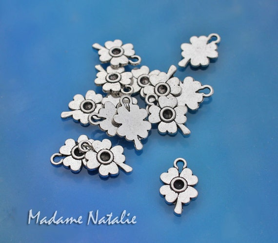 Clover Charms 10 Shamrock Charms Antique Silver Four