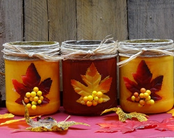 Set of 3 autumn decorated utility jars