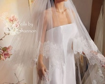 2 Tiers long Lace Cathedral Drop Veil, Cathedral Veil With Blusher, Ivory Cathedral Wedding Veil, Lace Cathedral Veil Chapel Veil Style V1C