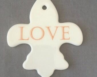 """Fleur de lis Ornament - """"LOVE"""""""