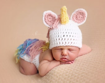 Unicorn Newborn Outfit, Photo Prop, Newborn Photography Prop, Crochet Newborn Outfit, Handmade, Newborn Outfit