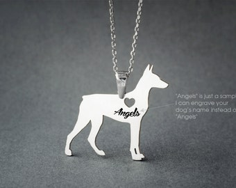 DOBERMAN PINSCHER NAME Necklace - Doberman Name Necklace - Personalised Necklace - Dog breed Necklace - Dog Necklaces
