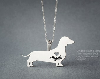 DACHSHUND SHORTHAIRED Name Necklace -DOXIE Shorthair Name Necklace - Personalised Necklace - Dog breed Necklace - Dog Necklace