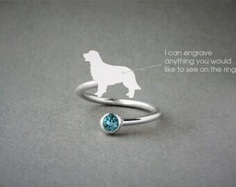 Adjustable Spiral GOLDEN RETRIEVER Ring / Golden Retriever Birthstone Ring / Birthstone Ring / Dog Ring