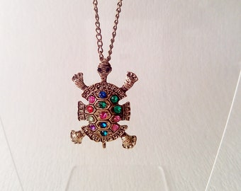 Vintage  Pendant Turtle with crystals - Vintage Jewelry