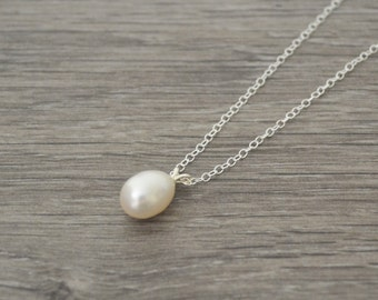 Freshwater Pearl Drop Necklace • Sterling Silver Ivory Freshwater Pearl Drop Necklace • UK Seller