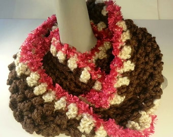 Oatmeal, Brown, and Pink Infinity Scarf