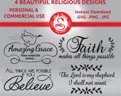 4 Bible Verse Religous Quotes - Cutting File – SVG, png, JPG,  DXF , Believe, Faith, Amazing Grace, Lord is my Shepherd  Commercial Use