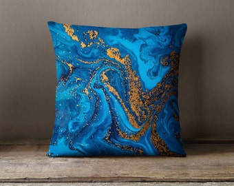 Blue Pillow | Blue Gold Pillow | Marble Decorative Pillow | Blue Throw Pillow | Marble Pillow | Marble Gifts | Marble Decor | Blue Decor