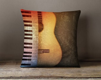 "Music Gifts | Music Decor | Music Pillow | Music Art | Music Decorations | Piano Decor | Guitar Decor - ""Piano vs Guitar"" Pillow Case"