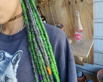 10 Natural Look Synthetic Dreads, Halloween Theme Dreads, 10 SE Dreadlock Extensions, Green Dreads, Grey Gray Dreads, Accent Dread Set