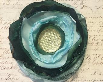 Mint Green & Dark Green Flower Hair Clip