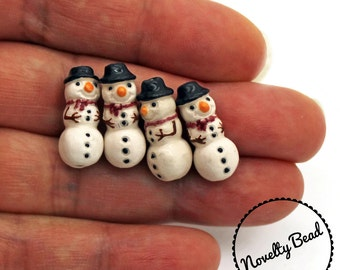 4 - Small - Snowman Beads - Christmas Beads - Xmas Beads - Holiday Beads - Novelty Beads - Ceramic