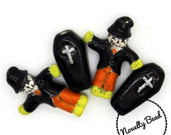 4 - Small - Scarecrow & Coffin Beads - Halloween Beads - Fall Beads - Novelty Beads - Ceramic