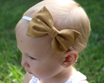 mustard and gold heart bow headband