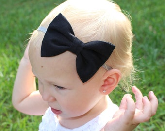 solid black bow headband