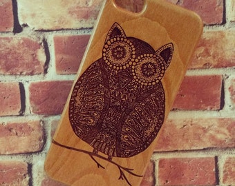 Genuine Wood Cell phone Case with Owl Doodle Laser Engraving for iPhone 5/S, 6 and 6 plus IP-002