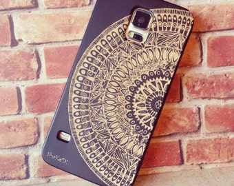Genuine Wood Cell phone Case with Hand Drawn Mandala Aztec Doodle Pattern Laser Engraving for iPhone 5/S, 6 and 6 plus IP-011
