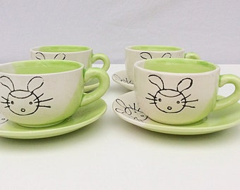 Childrens teacups & saucers, childs teaset, childs miffy patterned cups and saucers, rabbit pattern, Dutch pottery, Easter present