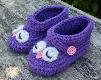 Owl baby booties - owl baby shoes - owl shoes - owl slippers - owl baby gift - owl theme - owl baby shower - baby shoes -owl shoes