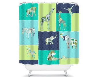 kids shower curtain elephant shower curtain blue bathroom decor childrens shower boys