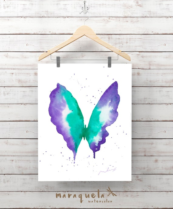 Green Violet BUTTERFLY Illustration Watercolor - Art , painting living- room, home decor, poster print wall room ideas gift baby, girl woman