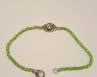 Green seed bead bracelet