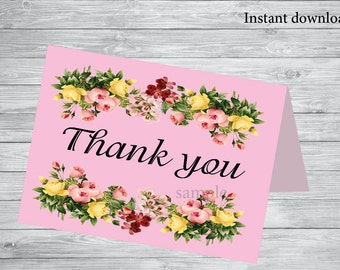50% Off SALE Printable Thank You Card - INSTANT Download, floral thank you card