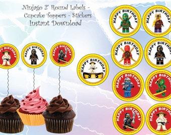 INSTANT DL - Ninjago cupcake toppers,Ninjago birthday, Ninjago party.