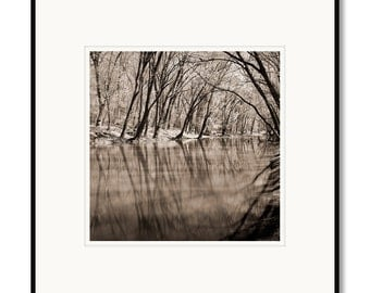 Black and white photography, sepia prints, landscape photography, C&O Canal, Potomac River, Maryland, Point of Rocks, river trees
