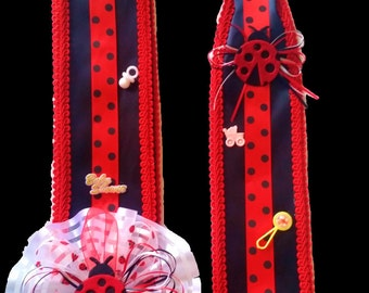 Ladybug Fancy Baby Shower Sash and Deluxe Dad Baby Shower Tie