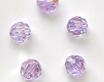 5 x Stunning Swarovski Crystal Pale Purple/Lilac 5000 Faceted Round Beads Size 8mm Crystal AB