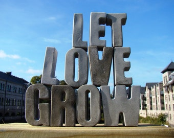 grey concrete wedding sign ready to ship now grey concrete letter gift for bride wedding sign table letter sign let love grow stone uk elf