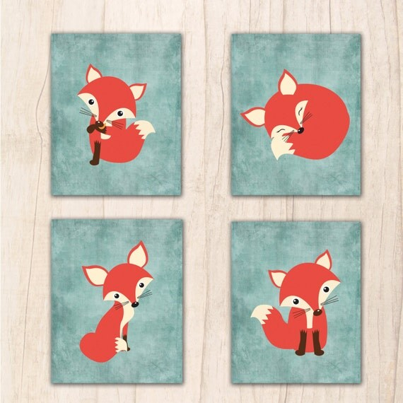 Cute Fox Nursery Wall Art Fox Printable Instant Download Fox Wall Art Fox Nursery Printable Fox Theme Nursery Wall Art