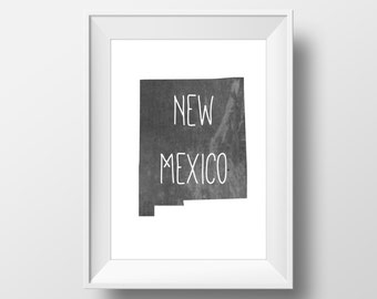 New Mexico State Black Chalkboard Printable Art, New Mexico Print, New Mexico Art, Modern Art,